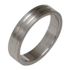 Ti2 Titanium 4mm Satin Two Groove Ring T.LR851.G