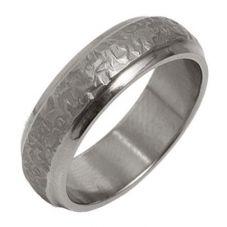 Ti2 Titanium 6mm D Shape Textured Bevel Edge Ring T.LR831.G
