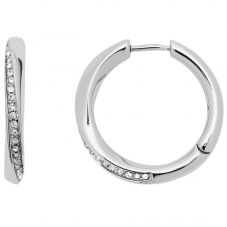 Fossil Classics Stainless Steel Twisted Crystal Hoop Earrings JF03015040