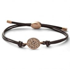 Fossil Rose Gold Plated Brown Cord Disc Bracelet JF00118791