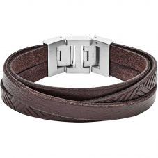Fossil Vintage Stainless Steel Multi Brown Leather Bracelet JF02999040