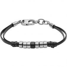 Fossil Vintage Stainless Steel Black Leather Bracelet JF03000040