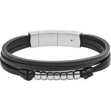 Fossil Vintage Stainless Steel Beaded Black Leather Bracelet JF03001040