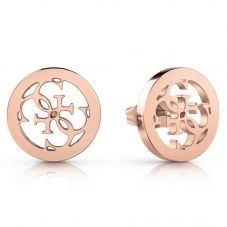 Guess Tropical Sun Rose Plated Logo Stud Earrings UBE78009
