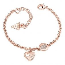 Guess Ladies Heart Devotion Rose Gold Plated Crystal Bracelet UBB82059-L