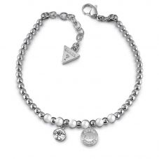 Guess Uptown Chic Pearl Logo Coin Bracelet UBB28052-L