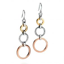 Fiorelli Ladies Silver 3 Colour Triple Open Disc Earrings E5089