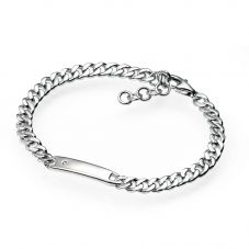 D For Diamond Sterling Silver Childs I.D. Bracelet