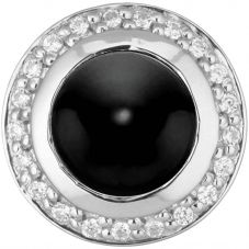 Story Silver Clear Cubic Zirconia Round Onyx 4408892
