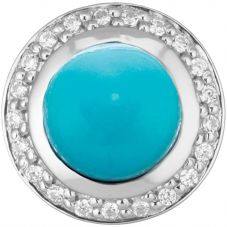 Story Silver Cubic Zirconia With Round Synthetic Turquoise 4408900