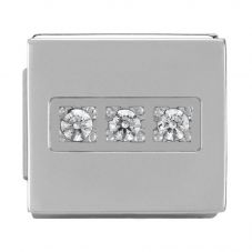 Nomination iKon Symbols 3 White Cubic Zirconia Rectangle Charm 230302/06