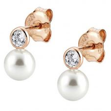 Nomination Bella Rose Gold Pearl Drop Earrings 142662/011