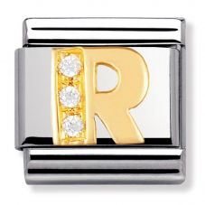 Nomination CLASSIC Gold Letters Cubic Zirconia R Charm 030301/18