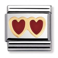 Nomination CLASSIC Gold Love Red Double Hearts Charm 030207/02