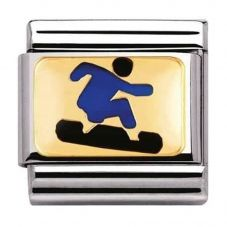 Nomination CLASSIC Gold Sports Blue Snowboarder Charm 030203/24