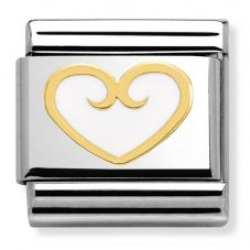 Nomination CLASSIC Gold Elegance White Heart Charm 030279/12