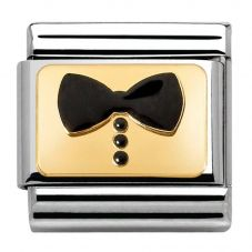 Nomination CLASSIC Gold Elegance Black Bow Tie Charm 030280/34