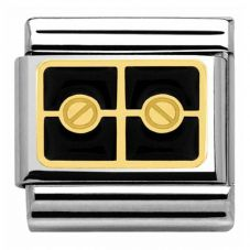 Nomination CLASSIC Gold Black Plaque With Two Screws Charm 030280/26