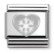 Nomination CLASSIC Silvershine Christmas Heart and Snowflake Charm 330204/02