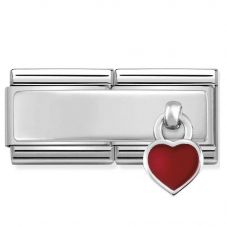 Nomination CLASSIC Silvershine Double Red Heart Charm 330780/03