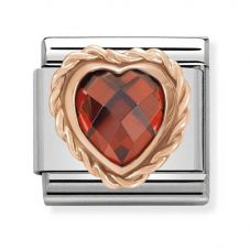 Nomination CLASSIC Rose Gold Faceted Heart Red Charm 430602/005