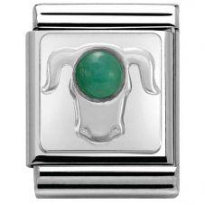 Nomination BIG Silvershine Zodiac Taurus Emerald Charm 332501/02