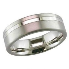 GETi 7mm Matt Polished Double Groove Engraved Ring 2208GP 7C ENG