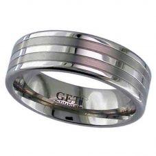GETi Mens 7mm Titanium Matt and Polished Banded Ring 2220GP