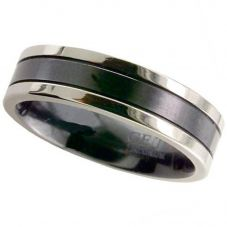 GETi Mens 7mm Two Colour Zirconium Lined Ring 4018GRB