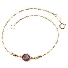 9ct Yellow Gold Faceted Amethyst Bracelet GB434M