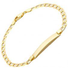 """9ct 5mm Flat Curb Id 7"""" Bracelet 1.29.0381"""