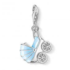 Thomas Sabo Silver Blue Pram Charm 1115-041-1