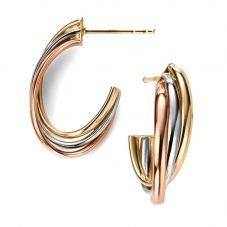 9ct Gold 3 Colour Hoop Earrings GE2010