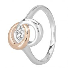 Rosa Lea Two-Tone Pavé Intertwined Rings Band E2745CRG0.5M