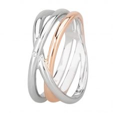 Rosa Lea Two-Tone Cubic Zirconia Triple Intertwined Rings Band RC473CRG2M