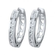 Starbright Silver Large Cubic Zirconia Cut-Out Heart Huggie Earrings E3042(2M) 3A