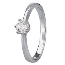Starbright Silver 4mm Six Claw Round Cubic Zirconia Ring R3227(4M) 3A