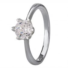 Starbright Silver 6mm Six Claw Round Cubic Zirconia Ring R3227(6M) 3A