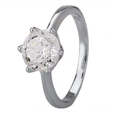 Starbright Silver 8mm Six Claw Round Cubic Zirconia Ring R3227(8M) 3A