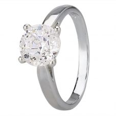 Starbright Silver 8mm Four Claw Round Cubic Zirconia Ring R6025(8M) 3A
