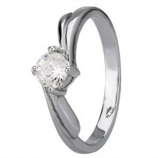 Starbright Silver Four Claw Twist Round Cubic Zirconia Ring R193 3A