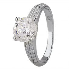 Starbright Silver Four Claw Round Cubic Zirconia Double Shouldered Ring R6154 3A