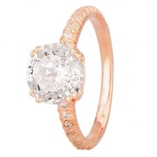 Starbright Rose Cushion-Cut Cubic Zirconia Shouldered Ring R6219 3A RGP