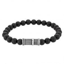 Bourne and Wilde Mens Black Agate Bead Bracelet OSB-1810SBK