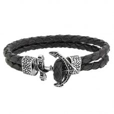 Bourne and Wilde Mens Double Black Leather Anchor Bracelet OSB-1730SBK