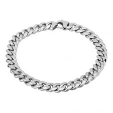 Bourne and Wilde Mens Stainless Steel 21cm Polished Flat Curb Bracelet STBTH006