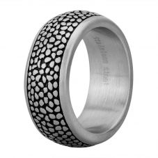 Bourne and Wilde Mens Oxidised D-Shape Reptile Ring OSR-6121S