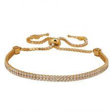 Isabella Verona Gold Tone Double Row Cubic Zirconia Toggle Bracelet SBMBSRG16XXXA0-G