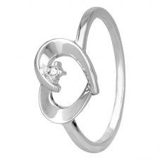 Petite Diamonds Silver Framed Heart Ring R3171C(T)