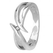 Petite Diamonds Silver Open Twist Ring R3186C(T)